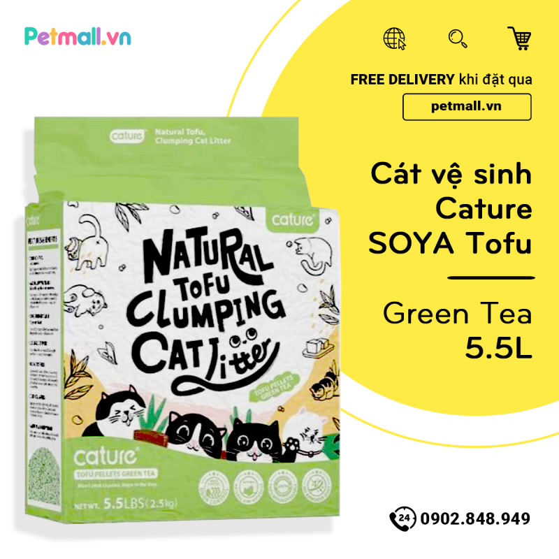 Cát vệ sinh Cature Tofu Soya 5.5L - Green Tea