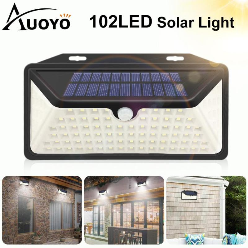 Auoyo 102LED Solar Lights Outdoor Lighting Wireless Motion Sensor Lamp IP65 Waterproof Wall Lamp with 270°Wide Angle Solar Powered Lights for Front Door Pathway Garden Yard