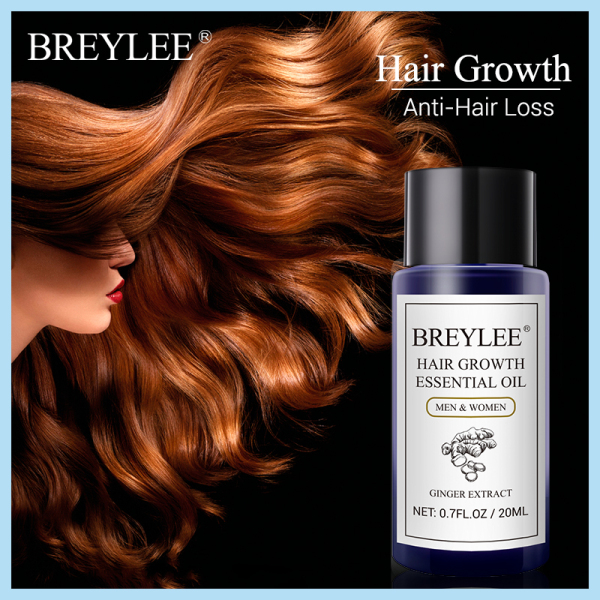 BREYLEE Hair Growth Serum 20ml Hair Growing Essence Hair Care Products Essential Oil Fast Powerful Prevent Baldness Ginger Extract Anti-Hair Loss Serum Nourishing