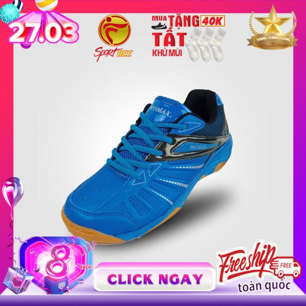 [SP ƯA CHUỘNG] Giày cầu lông nam nữ PROMAX 19001 Màu Xanh biển đế kếp, giày bóng chuyền, bám sân, chống trơn promax mitre động lực bee sport, bee-sport, sport-bee, sport bee giá rẻ