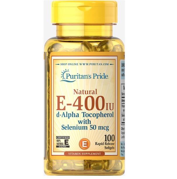 Viên uống bổ sung Vitamin E giúp đẹp da, chống lão hóa, hỗ trợ tim mạch Puritan's Pride Vitamin E-400 IU 100 viên