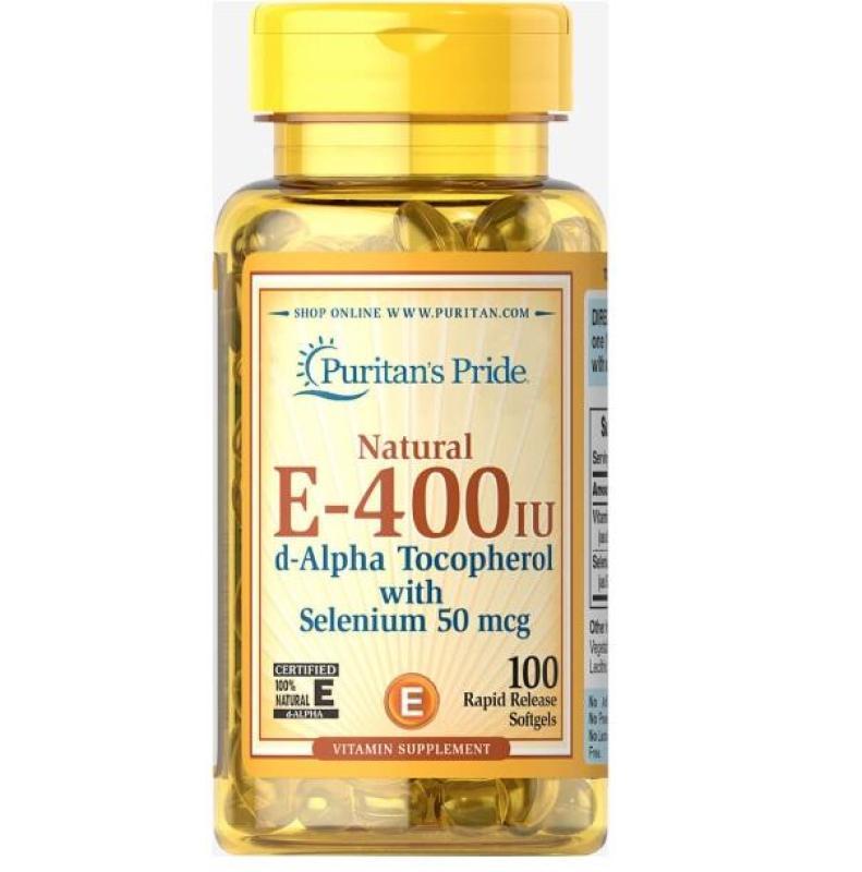Viên uống bổ sung Vitamin E giúp đẹp da, chống lão hóa, hỗ trợ tim mạch Puritans Pride Vitamin E-400 IU 100 viên cao cấp