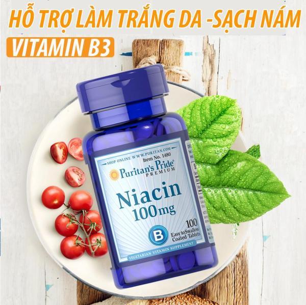 Viên uống bổ sung Vitamin B3 PP giảm mụn viêm hỗ trợ ngăn ngừa nhiệt miệng, viêm da, chống lão hóa Puritans Pride Niacin 100mg 100 viên. nhập khẩu