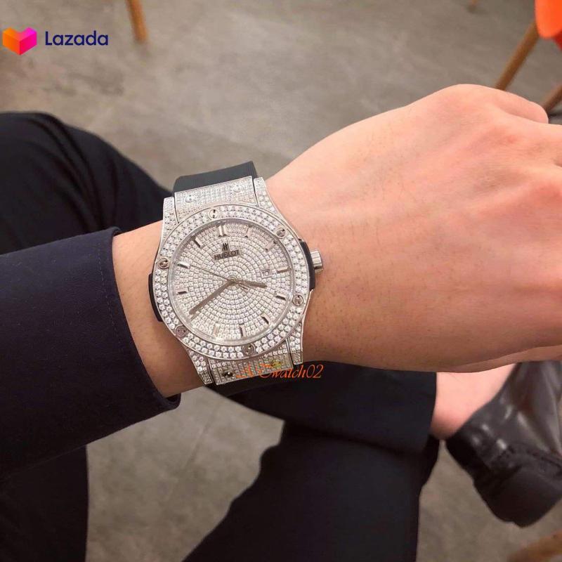 Đồng hồ Nam HUBLLOT AUTOMATIC HL562009- đồng hồ dây cao su đen hương vani mặt trắng bạc đính đá pha lê nhân tạo, đồng hồ thể thao nam