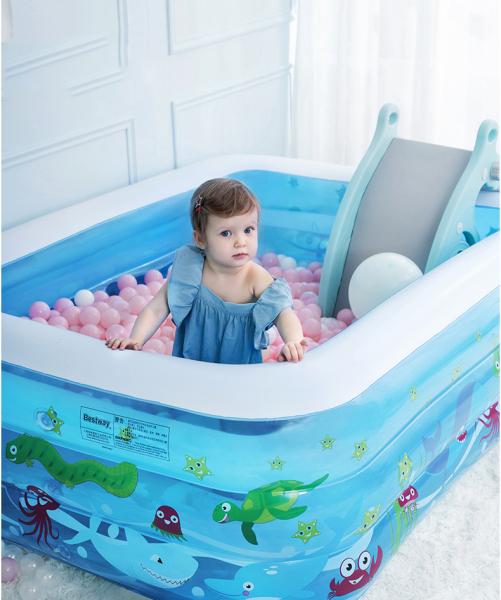 Phao hồ bơi, Cầu trượt hồ bơi cho bé, Bể bơi bơm hơi cỡ lớn tặng kèm bơm - Thành cao chất liệu nhựa dày dặn đàn hồi tốt , Thiết kế 3 tầng chịu lực tốt , Dễ dàng gấp gọn khi không sử dụng.