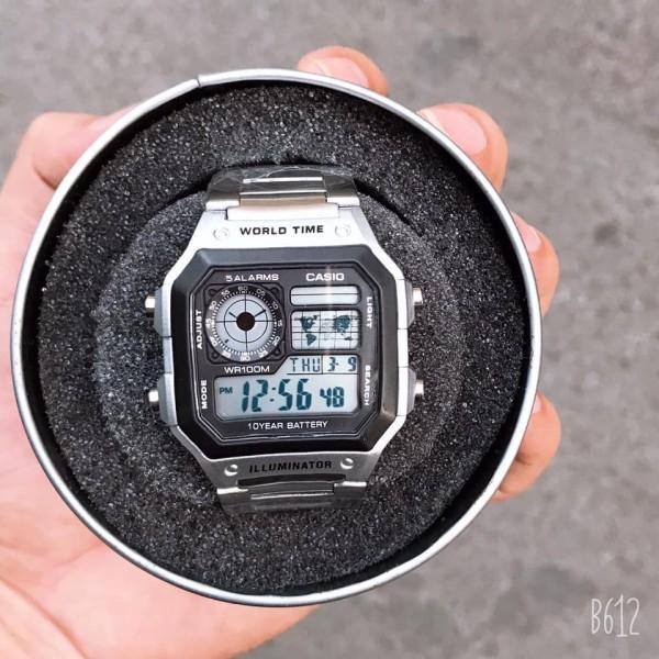 Đồng hồ nam C-a-s-i-o AE 1200-WHD classic chống nước , dây thép không gỉ (dây bạc mặt đen) bán chạy