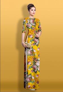 áo dài truyền thống Mai Lan hoạ tiết hoa 3D cao cấp - không kèm quần thumbnail
