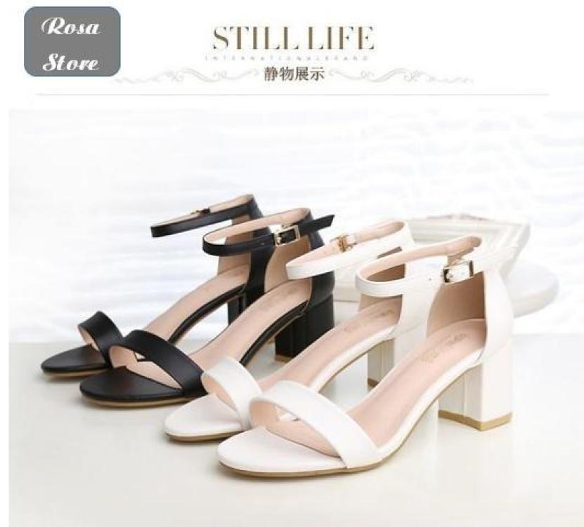 giày sandal quai ngang da mờ 5p Rosa-CG-0012 giá rẻ