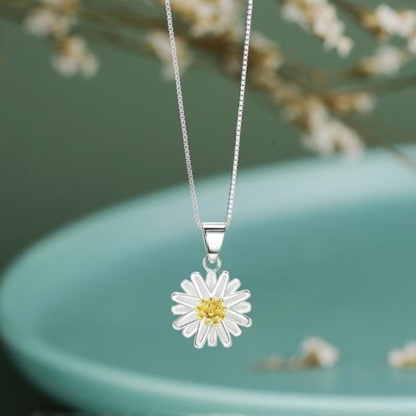 Dây chuyền hinh hoa cúc  họa mi bạc S925 DC108 phong cách Hàn Quốc