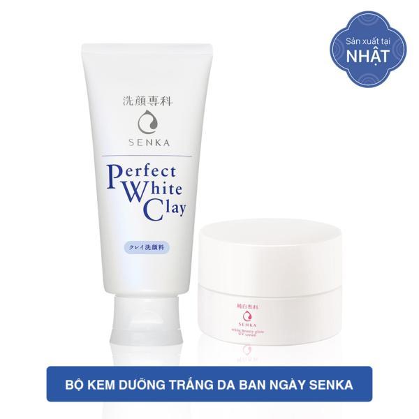 Bộ kem dưỡng trắng da ban ngày Senka (Glow UV Cream 50gr+ Perfect White Clay 120g) tốt nhất