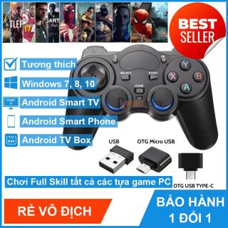 [BẢO HÀNH 6 THÁNG] Tay Cầm Chơi Game Không Dây 2.4G Cho PC Laptop PS3 Android TVbox Android Có Rung - Tương thích mọi loại game hiện nay, tay cầm chơi game bluetooth , tay cầm chơi game 4 nút, tay cầm chơi game điện thoại thumbnail