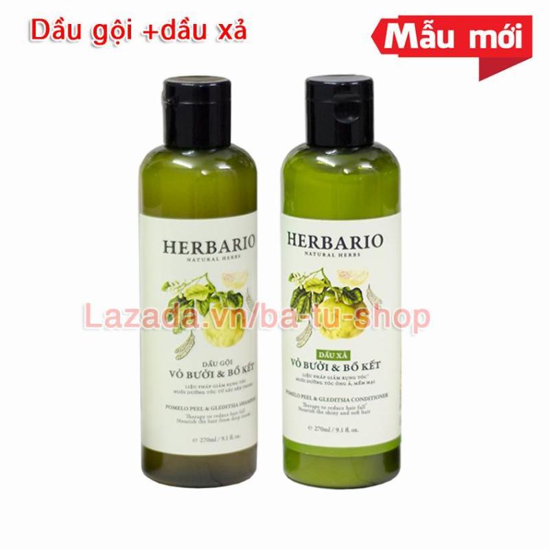 Bộ đôi Dầu Gội và Dầu Xả HERBARIO giúp giảm rụng tóc, kích thích mọc tóc 270ml x 2
