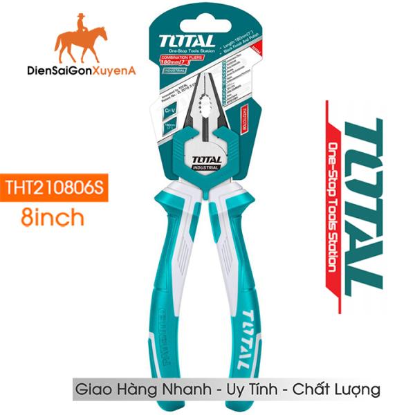 Kìm điện Kềm Răng CrV 8 inch 200mm Total THT210806S - Điện Sài Gòn Xuyên Á