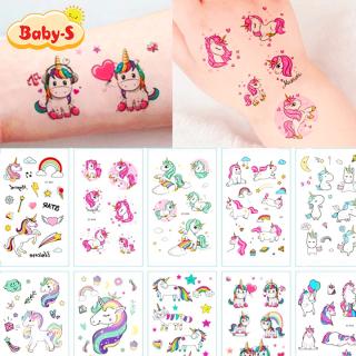 Hình xăm Unicorn dán chống nước nhiều màu sắc xinh yêu lung linh cho bé yêu thỏa thích vui chơi cùng bạn bè Baby-S SST007 thumbnail