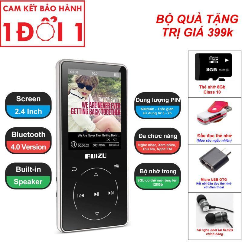 Combo Quà Tặng Trị Giá 499K - Ruizu D16 - 2019, Máy nghe nhạc Lossless, Bluetooth, Màn hình lớn 2.4 icnh - RUIZU D16 Metal Bluetooth MP3 Player Portable Audio 8GB Music Player with Built-in Speaker FM Radio,Recorder,E-Book,Video Player