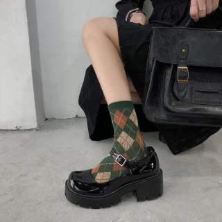 FQC585 Nhật Bản Mary Jane Nữ Giày Đồng Phục JK Đế Dày 2020 Mới Lolita Đệm Xốp Giày Da Nhỏ Hoang Dã Gót Dày Retro