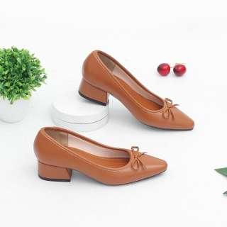 Giày Cao Gót Đế Vuông 3cm Mũi Vuông Nơ Nhỏ Pixie X418