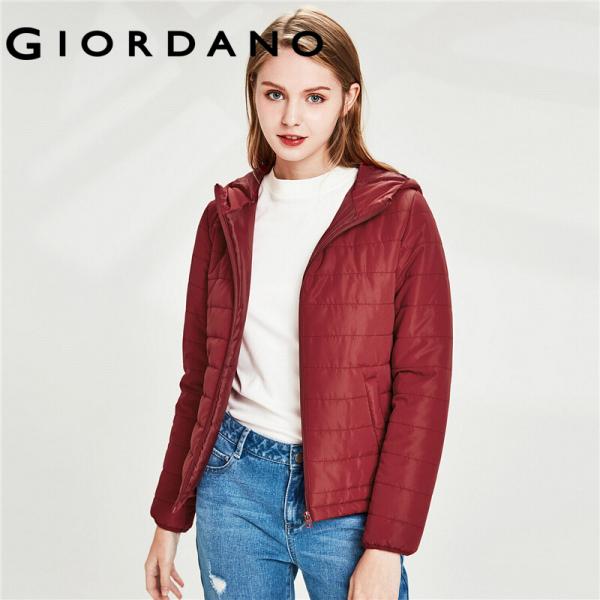 Áo phao có nón dành cho nữ chất liệu ấm áp áo có túi trước và dây kéo tiện lợi Giordano 13370824