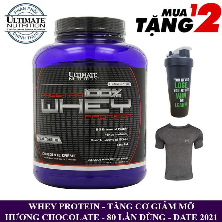 Sữa tăng cơ Prostar 100% Whey Protein của Ultimate Nutrition hộp 80 lần dùng hỗ trợ tăng cơ giảm cân, giảm mỡ bụng, tăng sức bền sức mạnh vượt trội cho người tập GYM và chơi thể thao - Phân phối chính thức