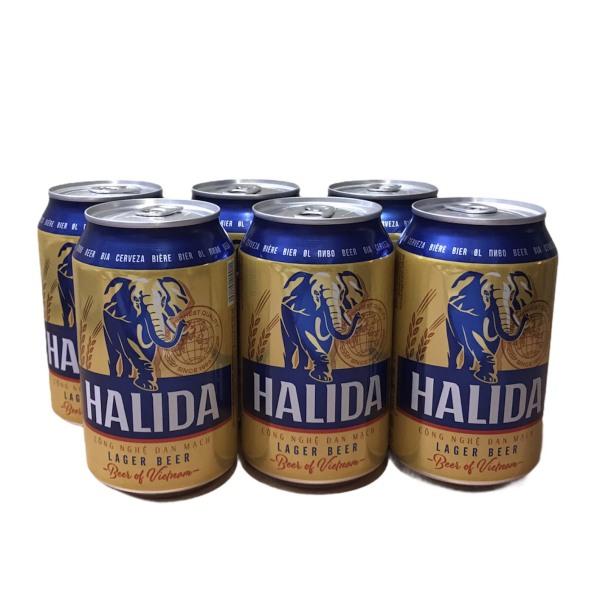 Bia Halida lon - bia Voi vàng - lốc 6 lon 330ml