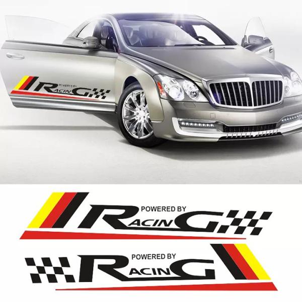 Bộ 2 tem dán cửa xe ô tô Racing