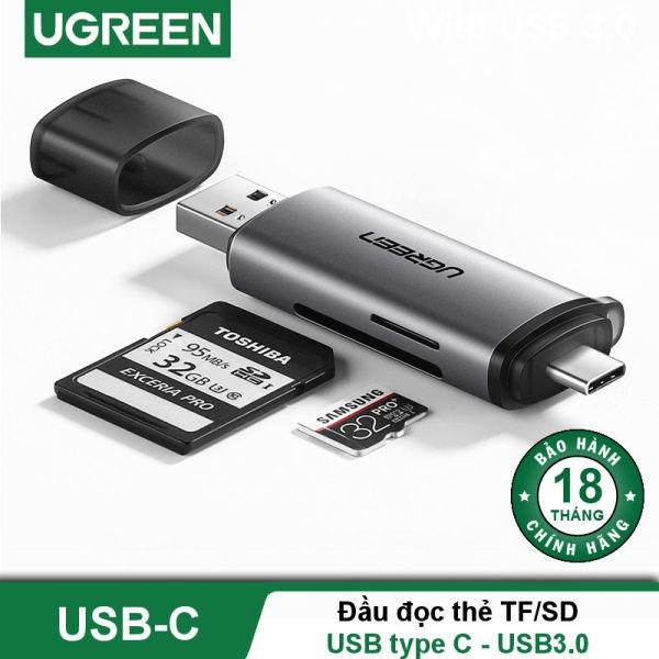 Bảng giá Đầu đọc thẻ USB type C với 2 khe thẻ cắm SD và TF hỗ trợ chức năng OTG UGREEN CM184 CM185 - Hãng phân phối chính thức Phong Vũ