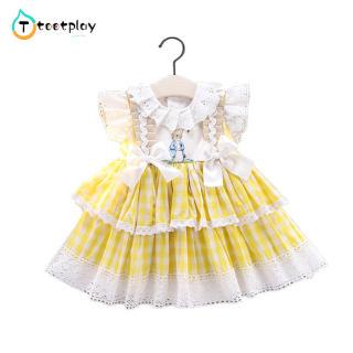Tootplay Đầm Nữ Phong Cách Hàn Quốc Đầm Công Chúa Ren Ngắn Tay Họa Tiết Kẻ Ca Rô Cotton, Dành Cho Trẻ Từ 1-6 Tuổi