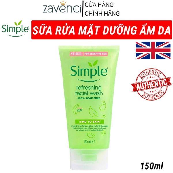 Sữa rửa mặt SIMPLE làm sạch mát da dưỡng ẩm phù hợp mọi loại da phục hồi nuôi dưỡng da từ sâu tế bào không hóa chất gây kích ứng zavenci (150ml)