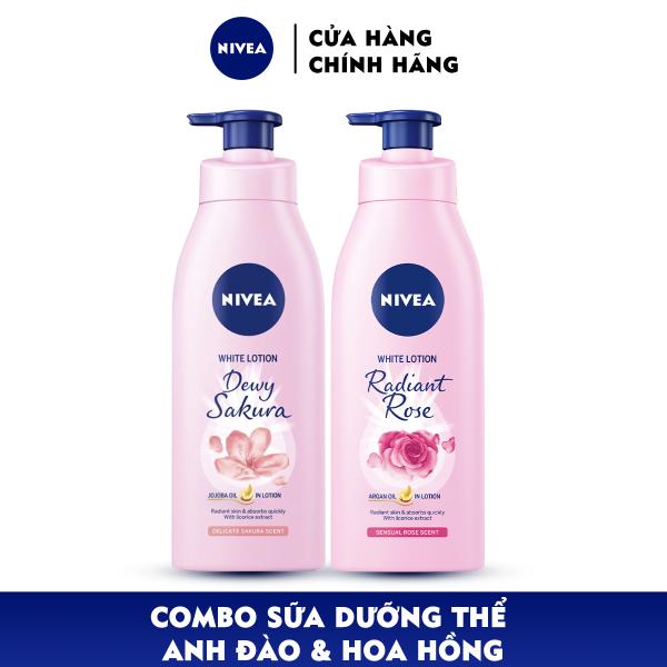 Bộ đôi Sữa Dưỡng Thể Dưỡng Trắng NIVEA Hương Hoa Hồng Radiant Rose (350ml) - 85707 & Anh Đào Dewy Sakura (350ml) - 85703 nhập khẩu