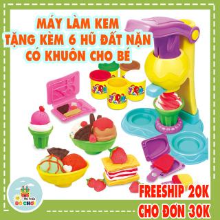 Đồ chơi đất nặn cho bé mẫu mẫu máy làm kem gồm 5 hũ đất sét nhiều màu , chất liệu an toàn cho bé trên 1 tuổi - Thị trấn đồ chơi thumbnail