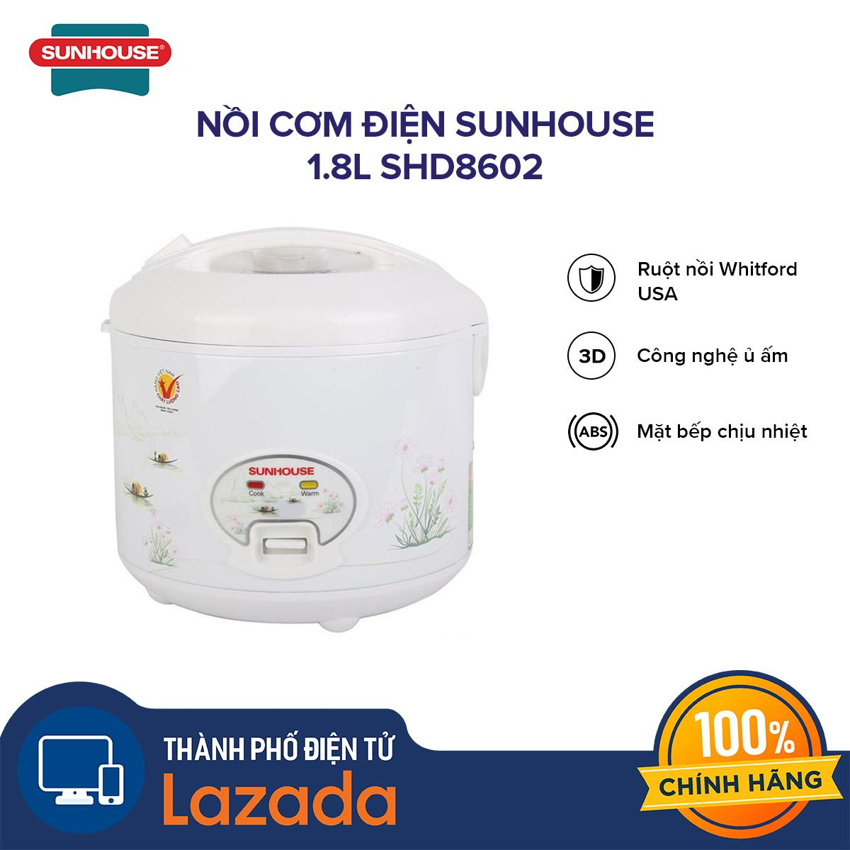 Giá Nồi cơm điện Sunhouse 1.8L SHD8602 - thích hợp với nhu cầu sử dụng hàng ngày của những gia đình 4-6 thành viên - Hãng phân phối chính thức