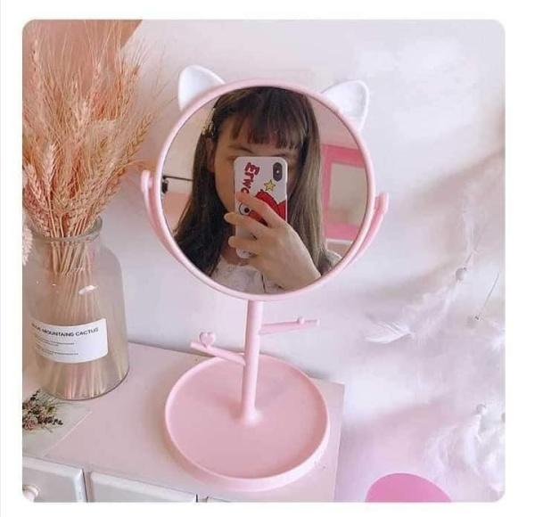 Gương để bàn tai mèo - Gương trang điểm tai mèo - Gương tai mèo cute giá rẻ