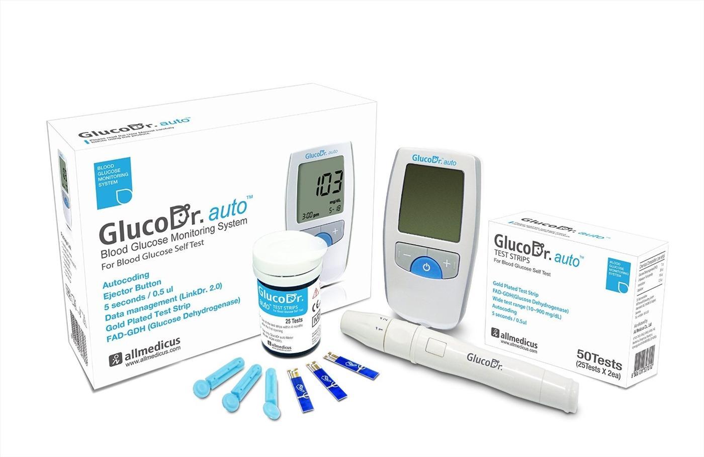 1 Máy đo đường huyết GlucoDr.Auto + 1 hộp 50 que glucoDr + 50 kim tròn lấy máu bán chạy