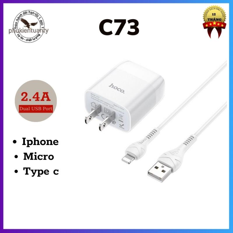 Bộ sạc hoco C73 ,Đầu ra USB 1/2: 5V-2.4A vật liệu PC chống cháy. Phích cắm tiêu chuẩn chân dẹt-phukientuanty