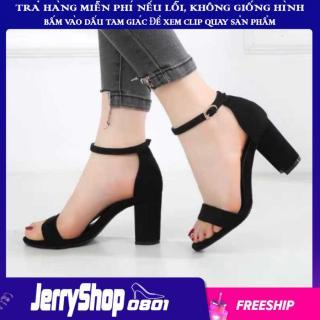 Giày nữ sandal cao gót 7 phân đế vuông dự tiệc, công sở quai ngang jerryshop0801 thumbnail