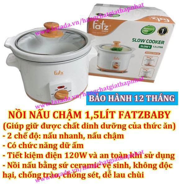 Nồi nấu cháo chậm 1,5Lít ăn dặm cho bé và gia đình FatzBaby FB9015MH (Tốt và rẻ so với BBcooker, Đạt Tường, Homepro, Khaluck, Korea King) Fatz