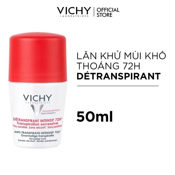 Lăn khử mùi giúp khô thoáng vùng da dưới cánh tay 72h Vichy Detransprirant Intensif 72h Transpiration Excessive 50ml giá rẻ