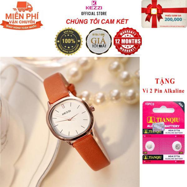 Nơi bán [COMBO QUÀ TẶNG LÊN ĐẾN 199K] Đồng hồ nữ Kezzi K-1155L hàng chính hiệu KEZZI dây da mặt vuông bo tròn - Đồng Hồ Nữ Thời Trang Công Sở Cao Cấp Kezzi K-1155L - Full Box - Dây Cam - Bảo Hành 1 Năm