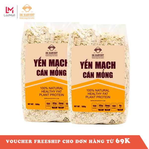 Combo 1kg Yến mạch ăn liền, nguyên hạt cán dẹp DK Harvest nhập khẩu Úc - 1kg (2 túi 500g), yến mạch ăn liền, yến mạch úc, yến mạch giảm cân, ngũ cốc giảm cân, hạt nấu sữa