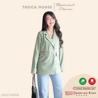 Áo khoác blazer vest xanh mint, nâu, đen túi nấp THOCA HOUSE thanh lịch, hiện đại nơi công sở, hằng ngày thumbnail