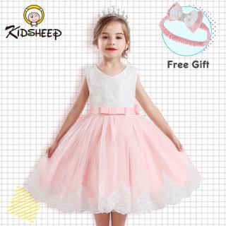 Váy Bé Gái Trẻ Em Kidsheep Đầm Lưới Ren Đầm Không Tay Mùa Hè, Váy Công Chúa Váy Cưới Bé Gái Quần Áo Thêu Hoa Đầm Thắt Nơ + Bộ Băng Đô Quần Áo Cho Bữa Tiệc Ảnh