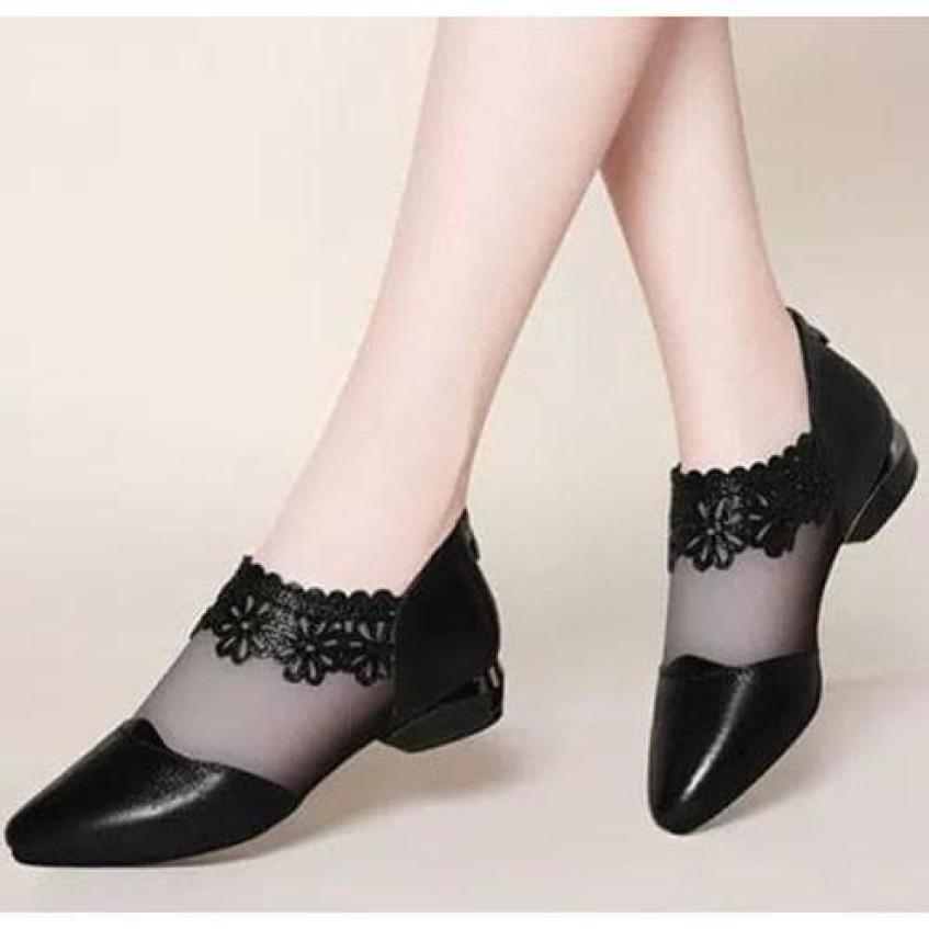 ( Bảo hành 12 tháng ) Giày búp bê nữ phối lưới ren cổ chân - Giày nữ da mềm 2 màu Đen và Bạc gót cao 3cm - Linus LN1704 giá rẻ