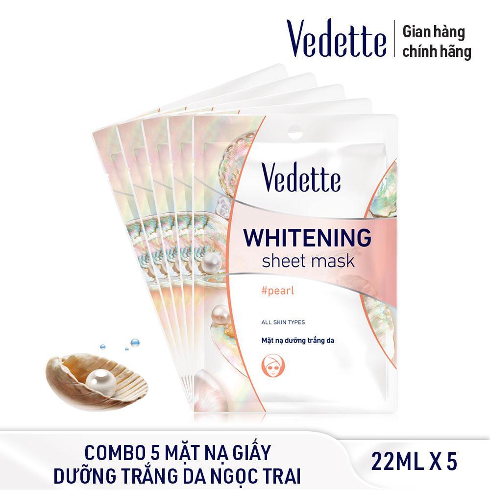 Combo 5 Mặt nạ trắng hồng tự nhiên Ngọc trai Vedette Whitening Sheet Mask - Pearl 5 x 22ml nhập khẩu