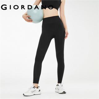 Giordano Women Pants Stretchy Elastic Waistband Comfy Yoga Pants Collage Ribbed Design Mid-Rise Yoga Pants For Women 13491001 thumbnail