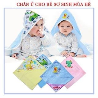 Chăn ủ hè cotton có mũ thêu mũ in hình cho bé (LOẠI ĐẸP nhiều mẫu) thumbnail