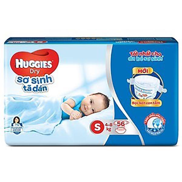 Tã Dán Sơ Sinh Huggies Dry Newborn S56 -HUGGIES SƠ SINH TÃ DÁN SIZE S 56 MIẾNG (4-8KG)