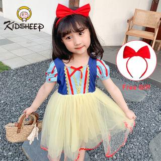 Váy Bé Gái Trẻ Em Kidsheep Váy Mùa Hè Váy Trắng Tuyết, Đầm Tay Phồng Ngắn Cotton Trang Phục Hóa Trang Đầm Biểu Diễn Quần Áo Bé Gái 4T-13T