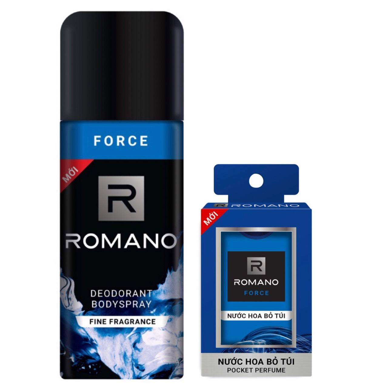 Combo xịt khử mùi toàn thân cho Nam Romano Force 150ml+Nước hoa bỏ túi Force 18ml cao cấp