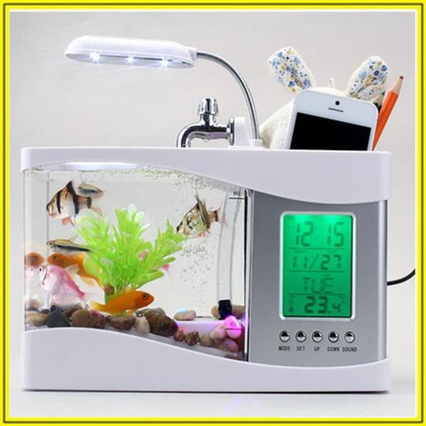 Bể cá để bàn mini giá rẻ - hồ cá phong thủy mini - Bể cá cảnh mini thông minh đa năng - Bể cá phong thủy mini sử dụng nguồn usb - Bể cá mini siêu đẹp để bàn làm việc đa năng có đèn led, đồng hồ, lọc nước, hộp đựng bút - center shop