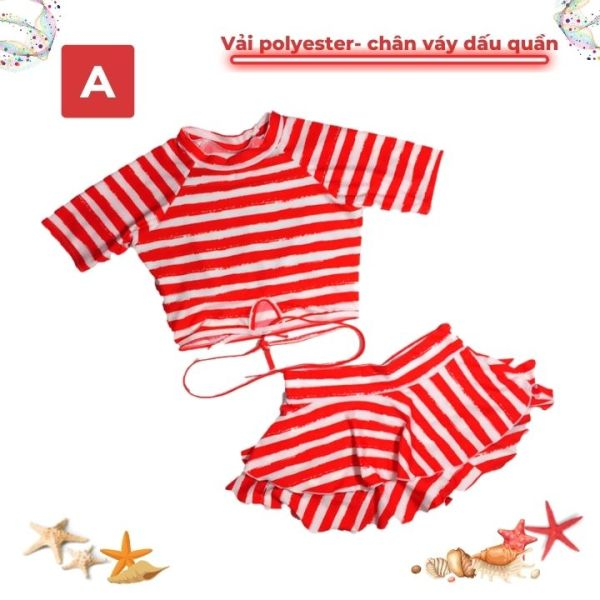 Nơi bán Đồ bơi bé gái tay ngắn 29-43kg, quần giả váy tạo cảm giác thoải mái trong mọi hoạt động - Red Ant Kids